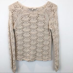 Loft open knit cream long sleeve crew neck sweater